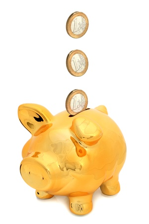 Piggy bank isolated over white background. photo
