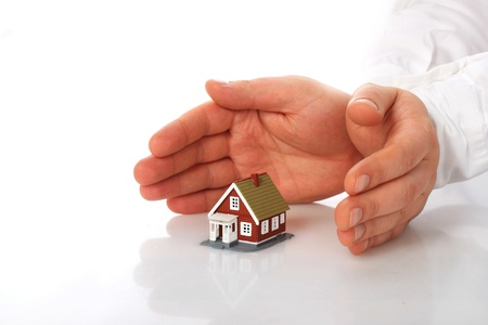 investment protection: Home insurance concept  Isolated over white