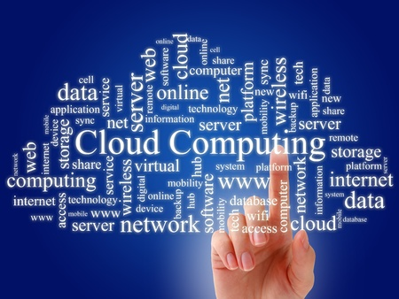 hub: Cloud computing concept Stock Photo