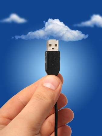 centralized: Cloud computing concept. Photo collage. Stock Photo