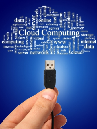 centralized: Cloud computing concept  Photo collage  Stock Photo