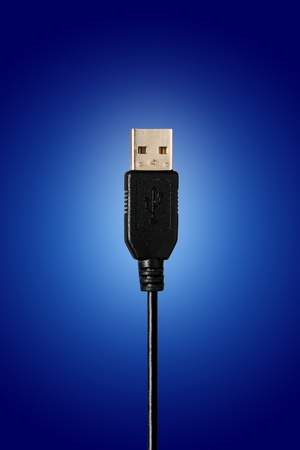 USB connection  Over blue background  Stock Photo