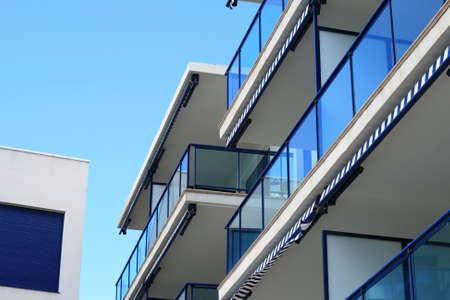 Modern building over blue sky background. photo