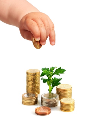 babys: Babys hand, coins and plant isolated over white.