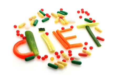 health collage: Word diet made from vegetables. Stock Photo