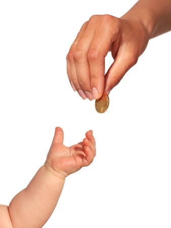 Money concept  Money and hands isolated over white  Stock Photo