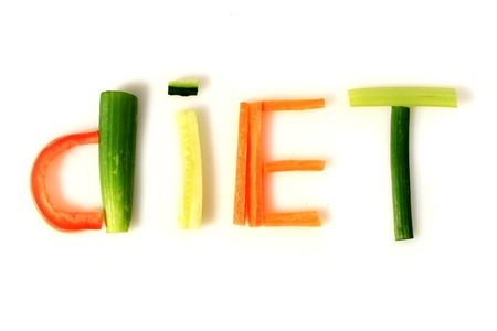 Word diet made from vegetables. photo