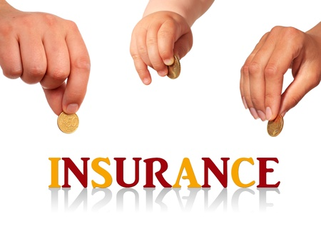 family life: Family insurance concept. Isolated over white. Stock Photo