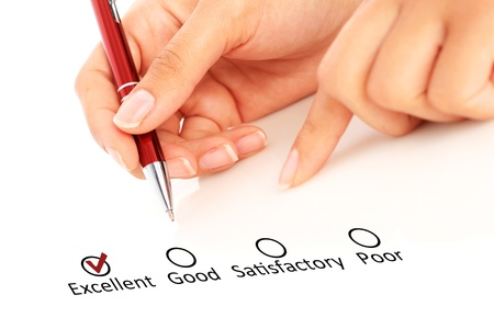 satisfactory: Quality control  The concept isolated over white  Stock Photo