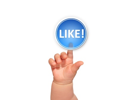 Appuyant sur le bouton main sur fond bleu comme. Banque d'images - 19695620