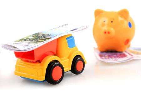piggybank: Piggybank and track with money