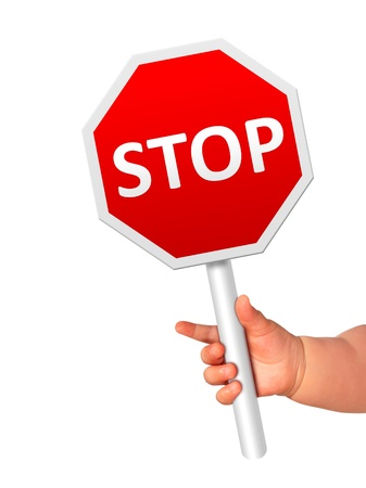 Baby is holding stop sign  photo