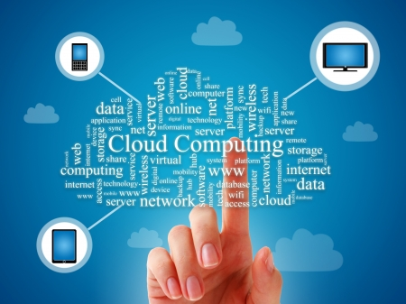 technology collage: Cloud computing concept over blue background.