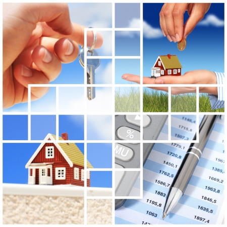 Invest in real estate concept. Collage. Archivio Fotografico