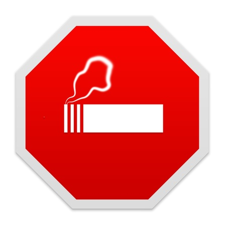 Stop smoking sign isolated over white. photo
