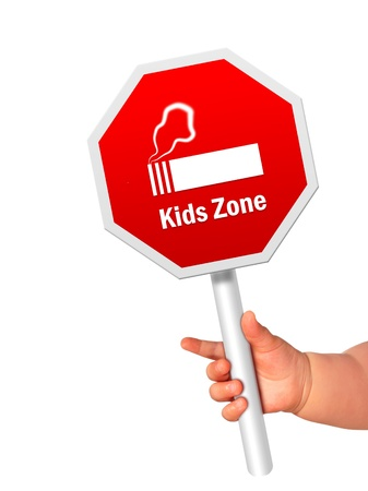 Stop smoking sign in kid hand. Stock Photo - 20195739