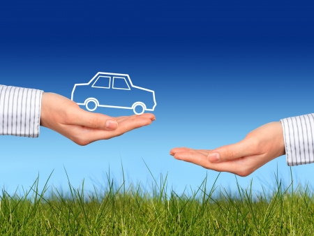 sell car: New car owner concept over nature background.