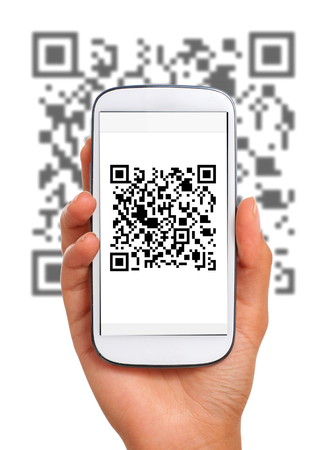 Scanning qr code with smart phone. Isolated over white. Banque d'images