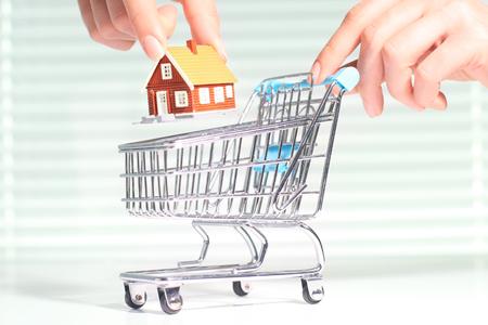 Kaufen Sie ein neues Haus. Haus und Warenkorb. Standard-Bild - 57154679