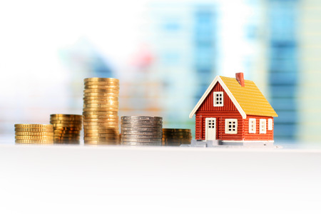 Mortgage house concept. House and euro money.