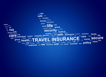 Travel insurance concept. Cloud tags in shape of aircraft.