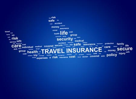 Reiseversicherung Konzept. Cloud-Tags in Form von Flugzeugen. Standard-Bild - 64068855