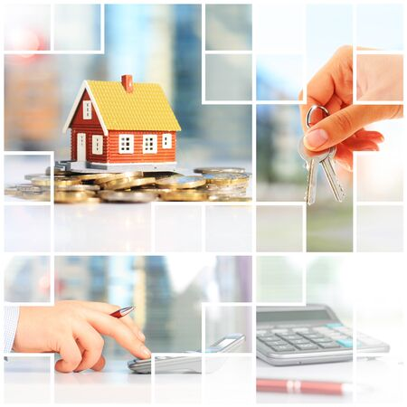 real esate: Real estate investment collage. Mortgage conceptual picture.