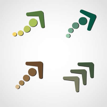 Vector illustration of dash arrows set