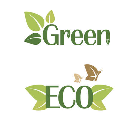Vector illustration of Green and ECO sticker
