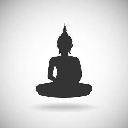 thai buddha: Buddha image silhouette Illustration