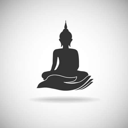 tempels: Boeddha beeld op handsilhouet