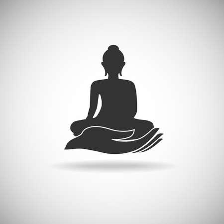 Buddha on hand silhouette