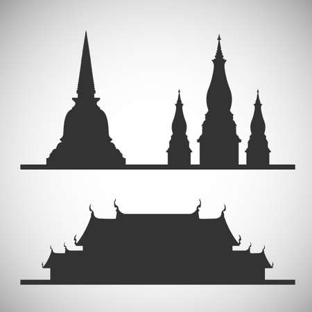 stupa and temple  silhouette
