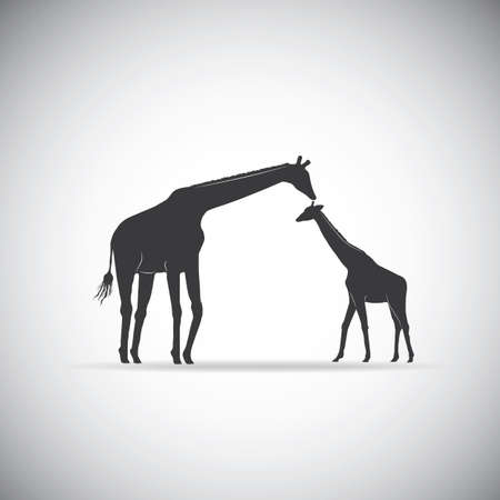 baby and mother: silhouette of mother giraffe with her baby