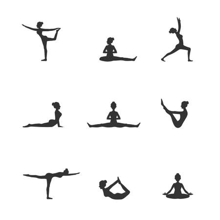 yoga pose silhouettes Stock Vector - 51644538