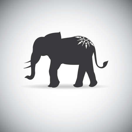 silhouette elephants with tattoo 矢量图像