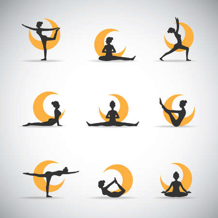 yoga pose silhouettes with the moon