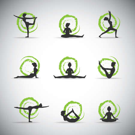 yoga pose silhouettes with green background