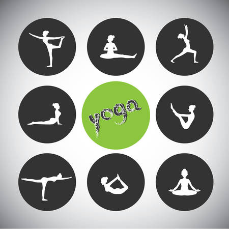 slim girl: yoga pose silhouettes Illustration