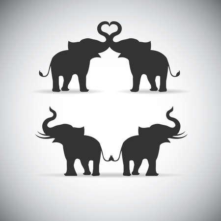 Silhouette lovers an elephant 일러스트