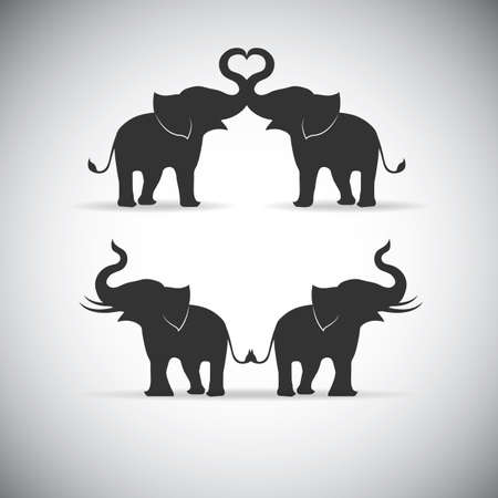 Silhouette lovers an elephant Vectores