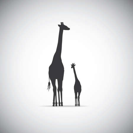 silhouette of mother giraffe with her baby