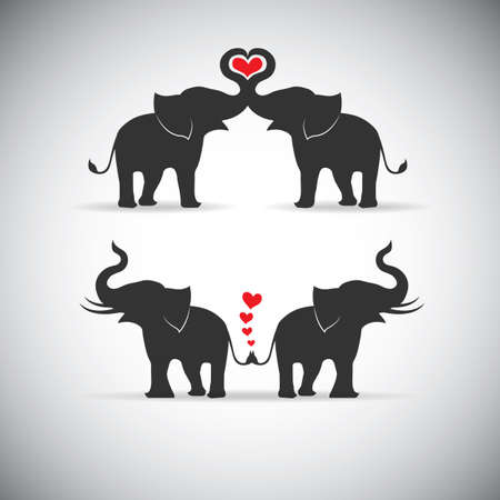 Silhouette lovers an elephant  イラスト・ベクター素材