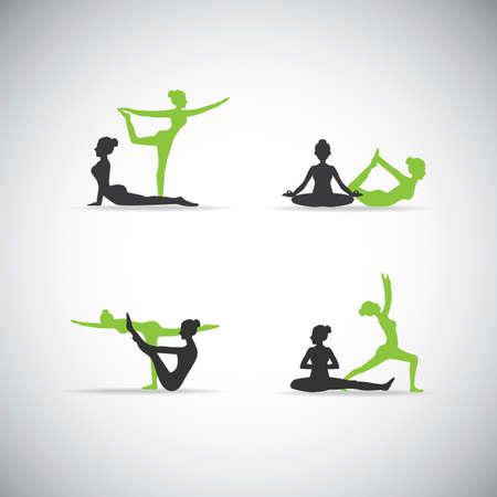 twin yoga pose silhouettes