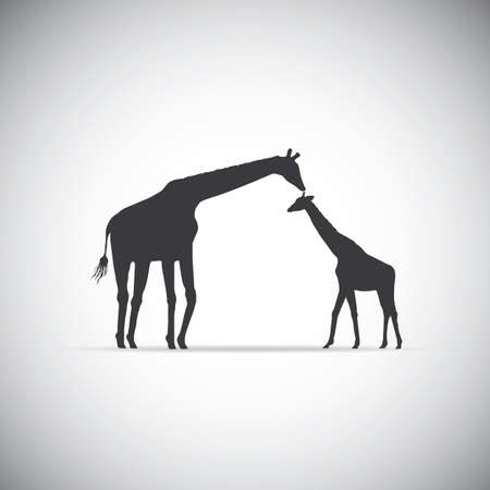 giraffe silhouette: silhouette of mother giraffe with her baby
