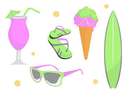 Bright Set of beach and summer elements. Creative vibrant colors.  イラスト・ベクター素材