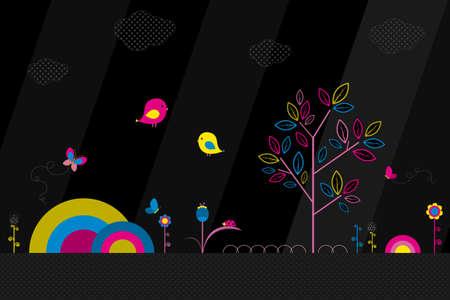 Vector illustration of fantasy park. Vibrant bright colors. Decorative flat design. Illusztráció