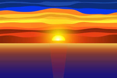 Sunset and sea.Vector illustration. Illusztráció