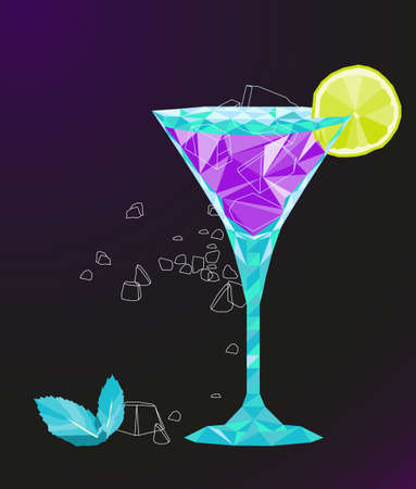 low poly vector martini cocktail with lemon,ice and mint leaves