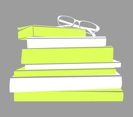 Vector Silhouette of stack books and glasses Illusztráció